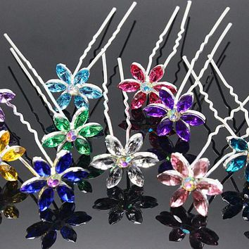10pcs/lot  Hair Accessories Simple Fashion Hair Pins Six leaves colored rhinestone party Hairpins Women Hair Jewelry H-48