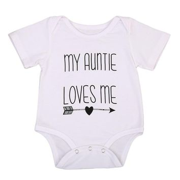 Short Sleeve O-Neck Pullover Fashion Hot My Auntie Love Me Baby Boy Girls Romper Jumpsuit Cotton Clothes Outfits 3-18M