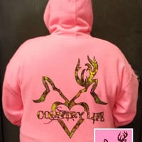 Country Life Outfitters Light Pink Deer Kiss Heart Love Camo Hunt Bright Hoodie