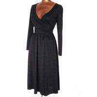 Vintage 70s Sexy Black Wrap Dress Cocktail Holiday