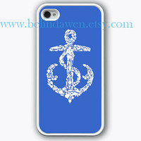 iPhone 4 Case, iphone 4s case, Nautical Anchor iphone case, graphic iphone hard case for iphone 4, iphone 4S