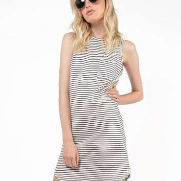 Striped Curve Hem Dress