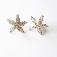 Rhinestone Starfish Earrings - Beach Bridal Earrings for Beach Weddings - Cute Adorable Elegant Romantic Whimsical Dreamy Mermaid Collection