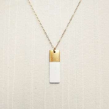 White Painted Rectangle Pendant & Gold Fill Chain Color-Blocked Necklace