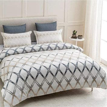 Geomania Wrinkle Resistant Reversible Print 100% Organic Cotton Duvet Cover and Sham Set of 2