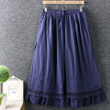 lace embroidery lacing linen Wide leg pants casual pants mori girl 2017