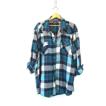 Vintage plaid flannel. pearl snap button up shirt. Unisex. Turquoise green & white Work shirt. oversized western shirt. Mens 3XL XXXL