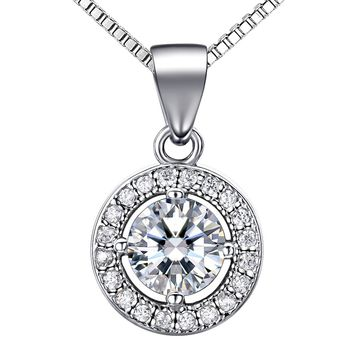 "925 Silver Necklace Women with 3A 6mm Cubic Zirconia Round Button Pendant Italy 18"" Chain Valentine's Day Gifts"
