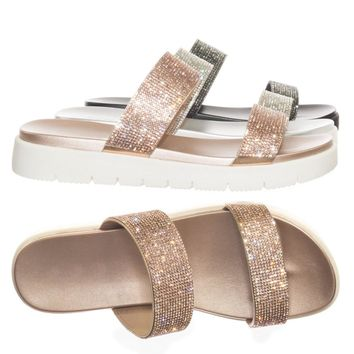 System Rhinestone Crystal Embellish Slipper Slide Molded Footbed Flatform Sandal