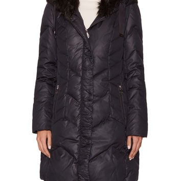 Tahari Outerwear Women's Mia Quilted Hooded Coat with Faux Fur Trim