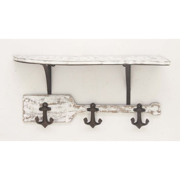 Propitious Wood Shelf Wall Hook White And Black