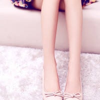 Korean Flat Leather Casual With Heel Round-toe Butterfly Shoes [4919951108]