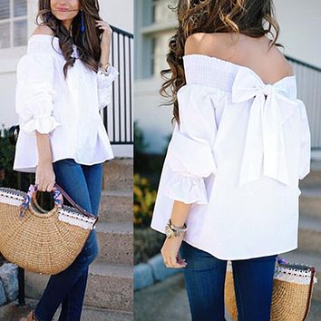 Sexy Off Shoulder Spring Summer Strapless Women Blouse Bow knot Tops Slash Neck Shirts Casual Loose