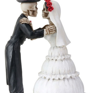Skeletons Kiss Wedding Cake Topper Day of the Dead Couple - T83640