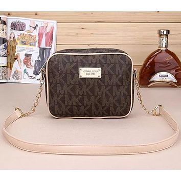 """Michael Kors"" Casual Fashion Letter Logo Print Zip Metal Chain Single Shoulder Messenger Bag MK Women Small Square Bag"