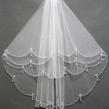 New 2T Shoulder Length White/Ivory Wedding Bridal Veil with Beading Pearls Comb