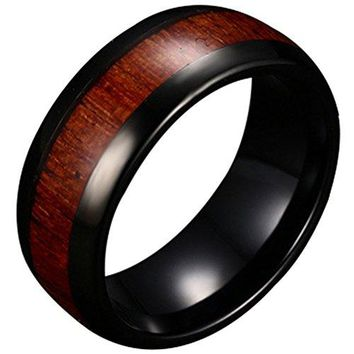 Mens 8mm Black Tungsten Carbide Vintage Wedding Jewelry Ring KOA Wood Engagement Promise Band for Him