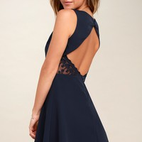 Flirt and Flair Navy Blue Backless Skater Dress