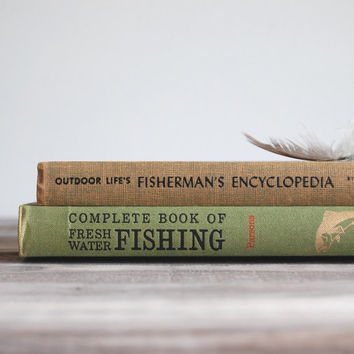 Vintage Fisherman's Library / Pair of 50s & 60s Books / Outdoor Life Complete Book of Fishing and Fisherman's Encyclopedia