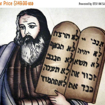 SALE Moses two tablets,handmade painting on leather,1970's iran,israel torah