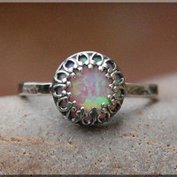 Pink Opal Ring, Crown Bezel Set Opal Ring, Sterling Silver gemstone Ring, Opal Cocktail Ring, Stacking Ring, Fire Opal Promise Ring