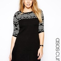 ASOS CURVE Exclusive Knitted Dress With Geo-Tribal Trim - Black/cream