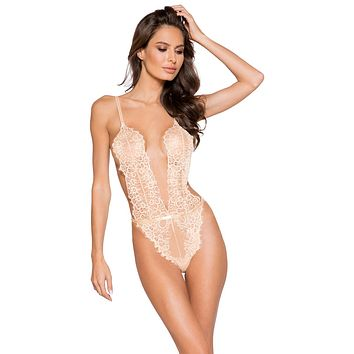 Sexy Desired Love Low Plunge High Leg Eyelash Lace Teddy