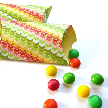 Chevron Pillow Boxes Set of 12 Gift Box Packaging, Party Favor Boxes