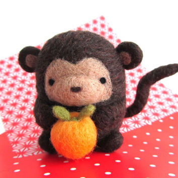 Chinese New Year Monkey, Needle Felted Monkey with Orange, Year of the Monkey, Felt Monkey Figurine, Chinese Zodiac Monkey, Monkey Ornament
