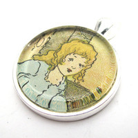 Goldilocks Art Pendant from Illustration in by CarpeDiemHandmade