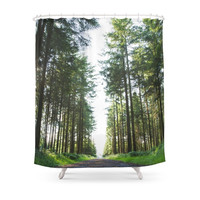 Society6 Path Through The Pines Shower Curtain