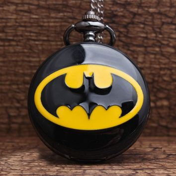 2017 Hot Retro Unique Batman Black Quartz Steampunk Pocket Watch Mens Analog Necklace Chain Mens Womens Watches Best Gift P199
