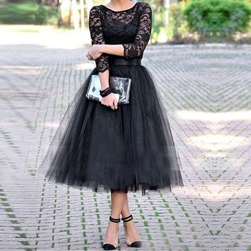 Honey Qiao Tea Length Bridesmaid Dresses Three Quarter Sleeve 2017 Black Vintage Lace Tulle Arabic Party Prom Gowns