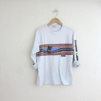 vintage white puma long sleeve shirt cotton tee shirt  number 1