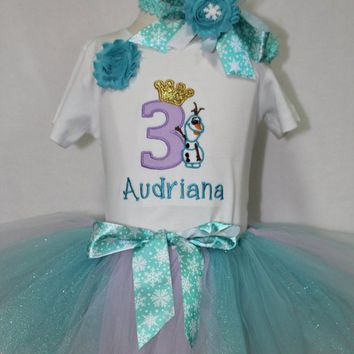 Frozen, blue ice princess birthday outfit, Olaf, Third Birthday, Girl 3rd birthday, Elsa birthday outfit, Frozen tutu, Frozen headband, blue