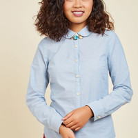 Off to a Good Start-up Top in Mid Wash | Mod Retro Vintage Long Sleeve Shirts | ModCloth.com
