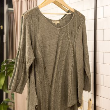Relaxed Waffle Knit Sweater, Olive | Democracy