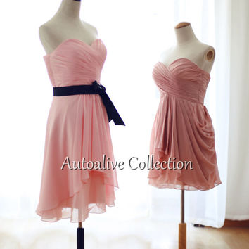 Peach Blush Pink Chiffon Bridesmaid Dress Knee Length Short Dress Strapless Sweetheart