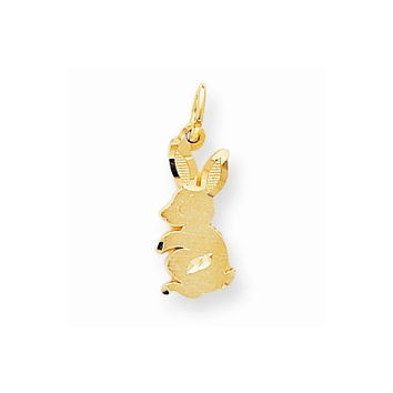 Solid 10k Yellow Gold Baby Bunny Rabbit Pendant
