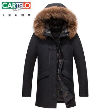 Cartelo/Brand Winter Down Jacket New Fashion Warm Brand Clothing Raccoon Fur Collar Long Male 90% White Duck Down Coat For Man