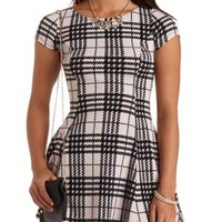 Textured Plaid Skater Dress by Charlotte Russe - Taupe Combo