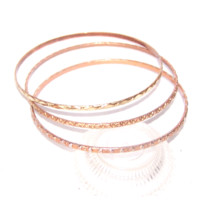 Rose Gold Bracelets, Bangle Bracelets, Set of 3 Thin Stackable Bracelets