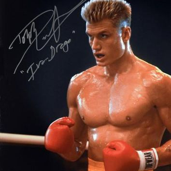 """Dolph Lundgren Signed Autographed """"Ivan Drago"""" Rocky Glossy 16x20 Photo (ASI COA)"""