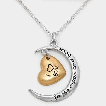 """""""I  You To The Moon And Back"""" Crescent & Heart Pendant Necklace"""