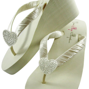 High Ivory Wedge Heart Wedding Flip Flops Wedges -White Low Heel/ Choose your Options