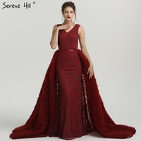 Newest Deep-V Mermaid Evening Dresses Sleeveless Sequined Luxury Sparkly Evening Gown