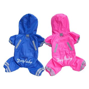 Breathable Mesh Padded Dog Raincoat Waterproof Lightweight Puppy Jacket Coat Overalls Reflective Rainwear Clothes for Small Dogs