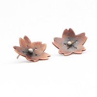 Handmade Copper Earrings, Hand Cut Copper and Silver Blossom Earrings with Antiqued Patina and Brushed Finish, Post Earrings by Erin Austin