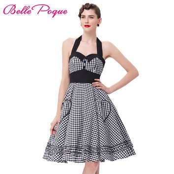 Summer Style Women Dress 2016 Plus Size Audrey Hepburn Gowns Plaid Robe 50's 60s Vintage Rockabilly Pin Up Swing Vestidos Dress