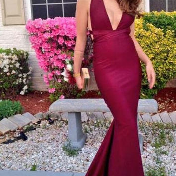 Halter Prom Dresses,Wine Red Prom Dress,Long Evening Dresses
